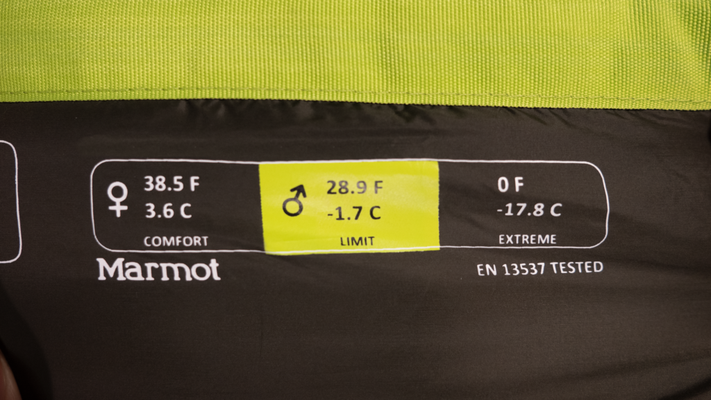 European Norm (EN) temperature rating label on Marmot sleeping bag