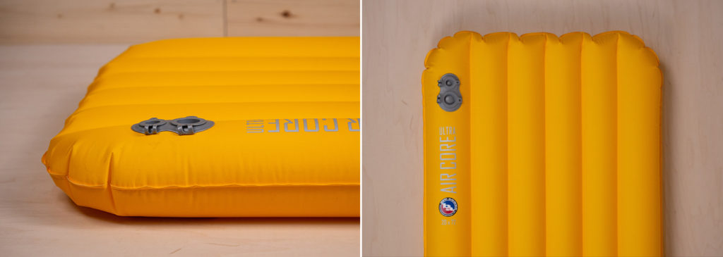 Two views of Big Agnes inflatable sleeping pad on wooden surface