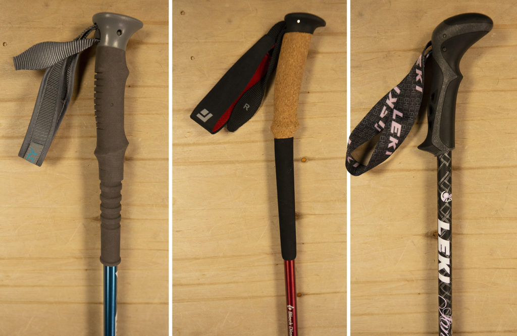Trekking pole grips made of foam, cork and rubber