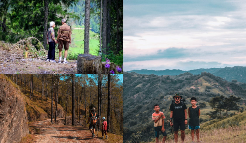 Collage of three photos showing hikers of various ages including an older couple and parents with children
