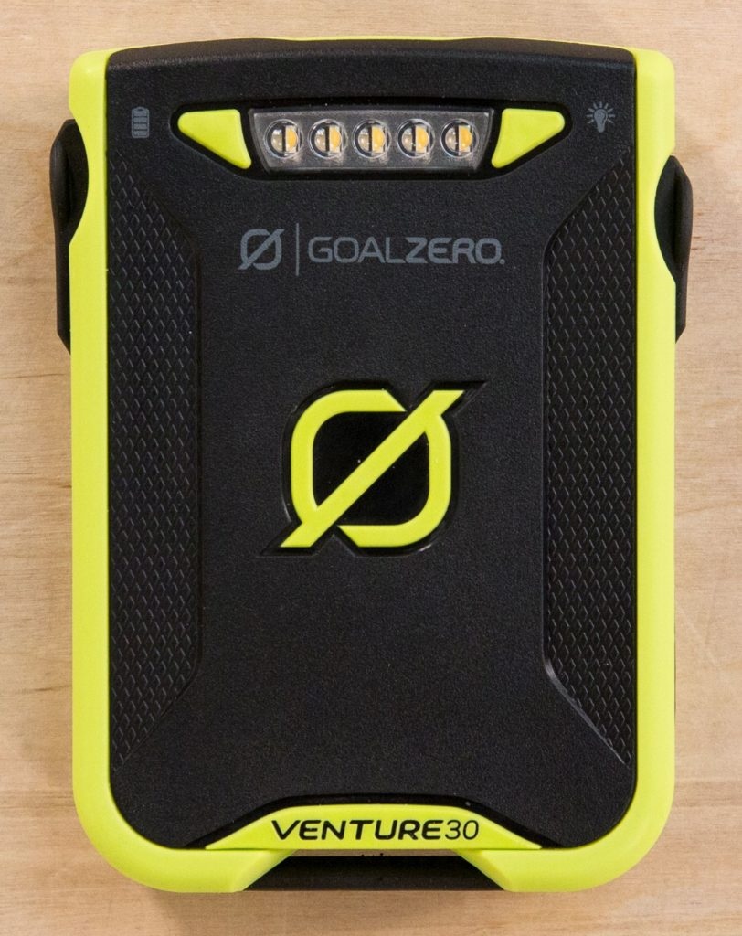 Goal Zero Venture 30 recharger on wooden surface