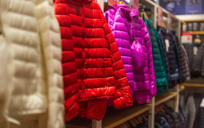 Down jackets hanging in store