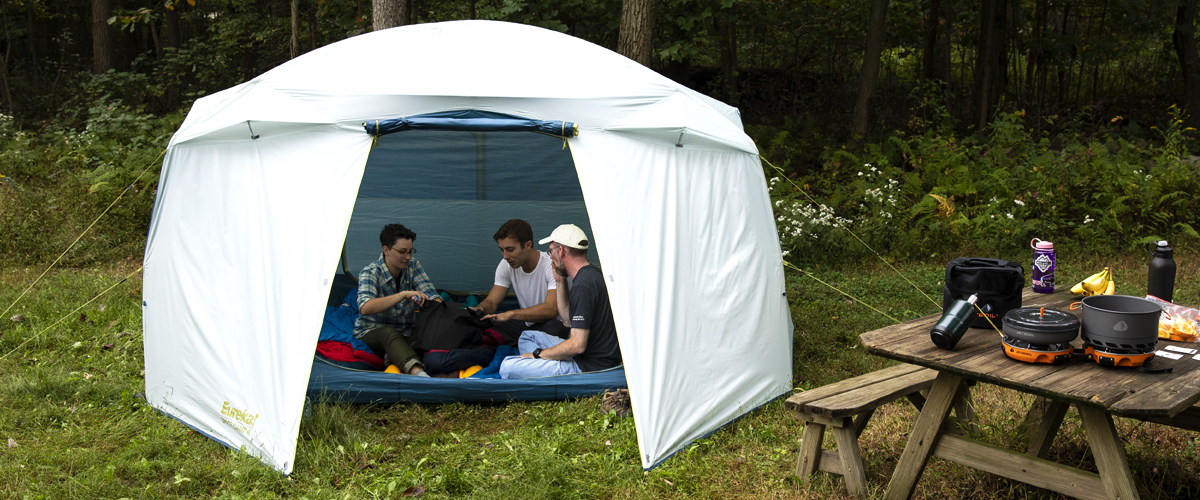 Troy, Alec and Becky in large, roomy camping tent