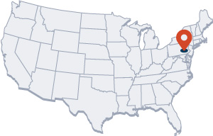 USA map with Enwild location marked in PA