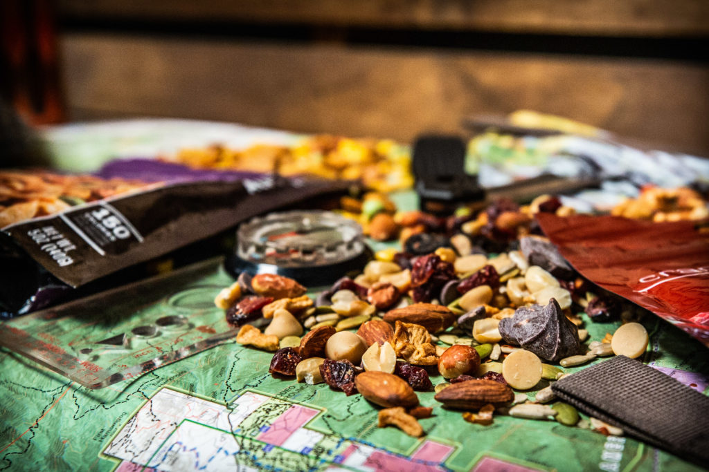 Closeup of trail mix on map background