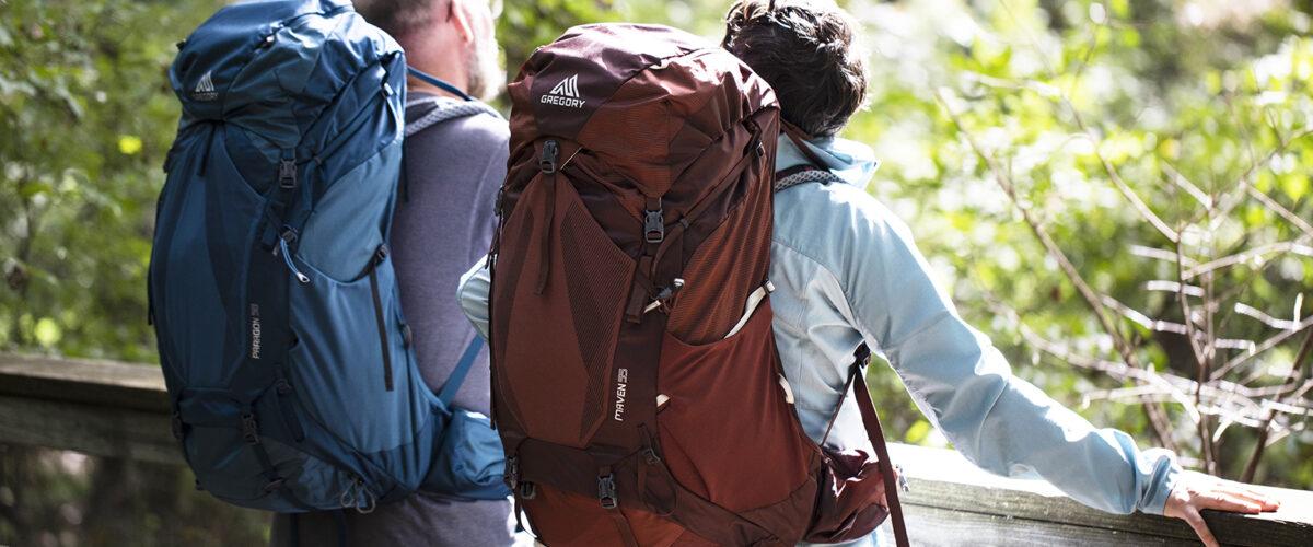 Backpackers on a bridge
