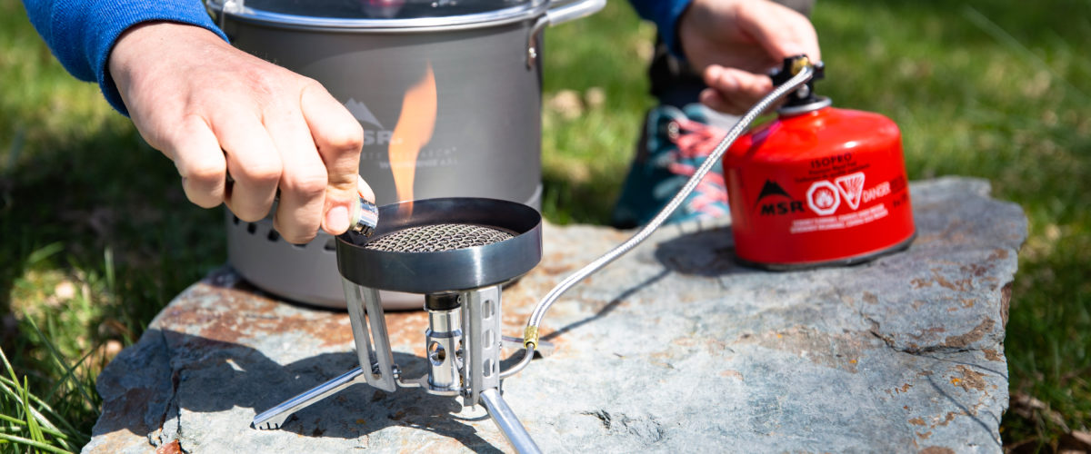 lighting a backpacking stove