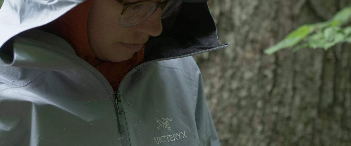 woman in rain jacket