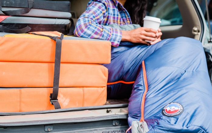 Big Agnes sleeping bag in car